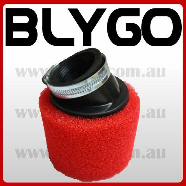RED 45mm Bent Angled Foam Air Filter Pod PIT PRO Trail Quad Dirt Bike ATV Buggy