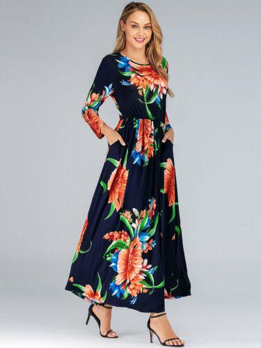 Vintage Women Floral Printed Long Maxi Dress Beach Cocktail Gown Party Plus Size