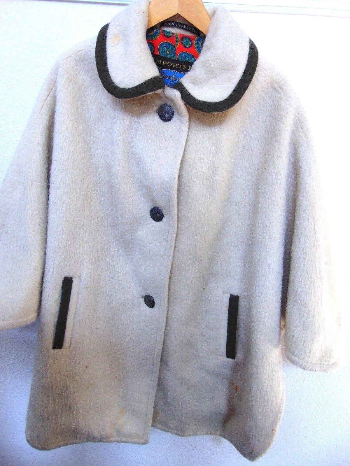 Vintage Lodenfrey Austria Poncho Cloak Cape Cream Wool Retro One Size Large XL