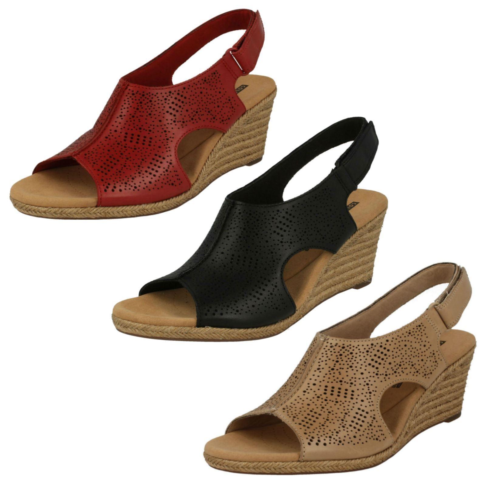 Damen Clarks Lafley Rosen Leder Eleganter Keil Absatz Sandaleen