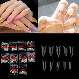 500Pcs-Transparent-Stiletto-Point-French-Acrylic-UV-Gel-False-Nail-TiMY