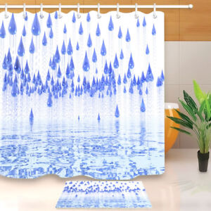 Image Is Loading Bathroom Liner Mat Waterproof Abstract Blue Raindrop Fabric