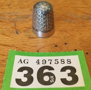 Antique-Silver-Plated-Thimble-Dorcas-7-Charles-Horner-CH