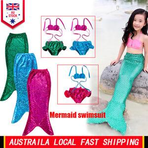 AU Stock Girls Kids Mermaid Tail Bikini Set Swimmable Swimming Swimsuit Costume