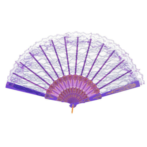Chinese Style Lace Hand Held Folding Fan Dance Party Wedding Dance Decor DA