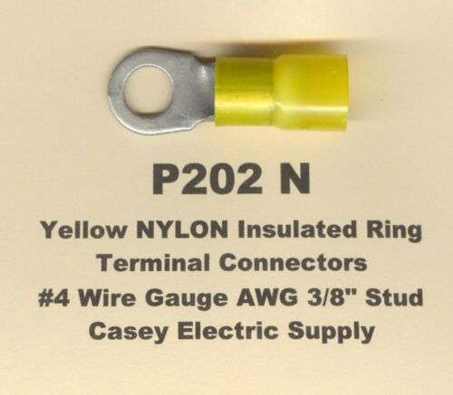 """10 Yellow NYLON Ring Terminal Connectors #4 Wire Gauge AWG 3//8/"""" Stud USA"""