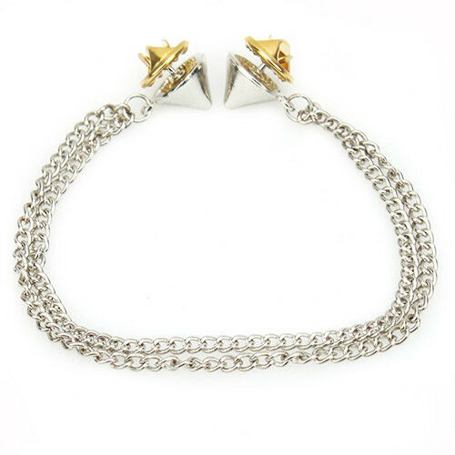 EE/_ Hot Spike Stud Blouse Shirts Collar Neck Tip Brooch Pin Chain Punk Gold Jewe