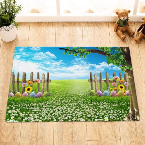 Easter Egg Daisy Floral Green Grass Wood Fence Shower Curtain Set Bathroom Decor
