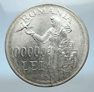 1946-ROMANIA-under-Michael-I-w-Romanian-Lady-and-Bird-Silver-Vintage-Coin-i73816