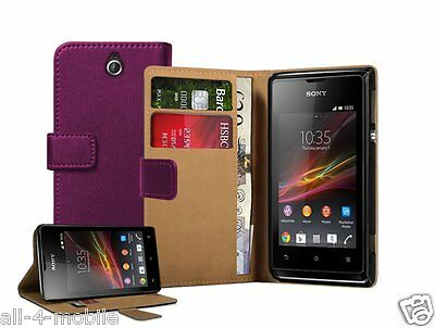 Wallet PURPLE Leather case cover pouch for Sony Xperia E / C1504 / C1505 experia
