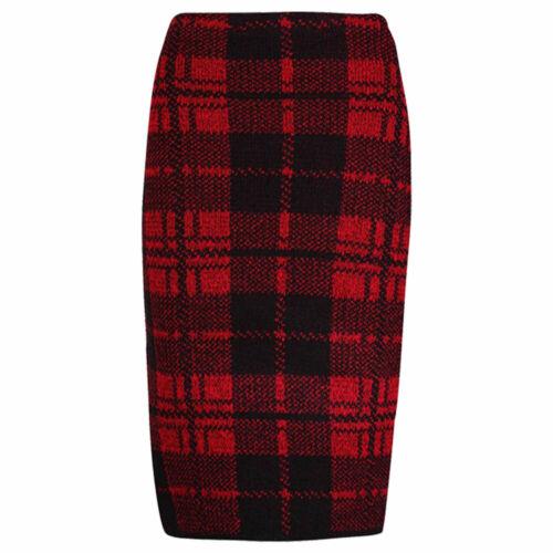Femmes Tricot Écossais Tartan Carreaux Midi Jupe SZ 8-14