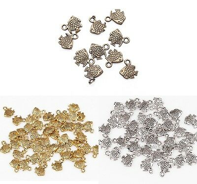 New 100Pcs Retro Style Zinc Alloy Fish Charm Pendant For Necklace Bracelet