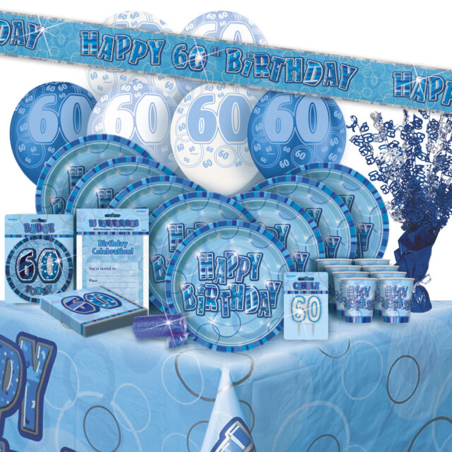 AGE 60 60TH BIRTHDAY BLUE GLITZ PARTY RANGE Balloon Decorations Banner