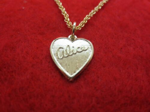 """14 kt GOLD PLATED PLATED  HEART SHAPED ALICE NAME  /& 7 /"""" TO 30/"""" ROPE CHAIN"""