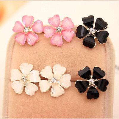 1Pair Elegant Women Silver Plated Flower Crystal Rhinestone Ear Stud Earrings