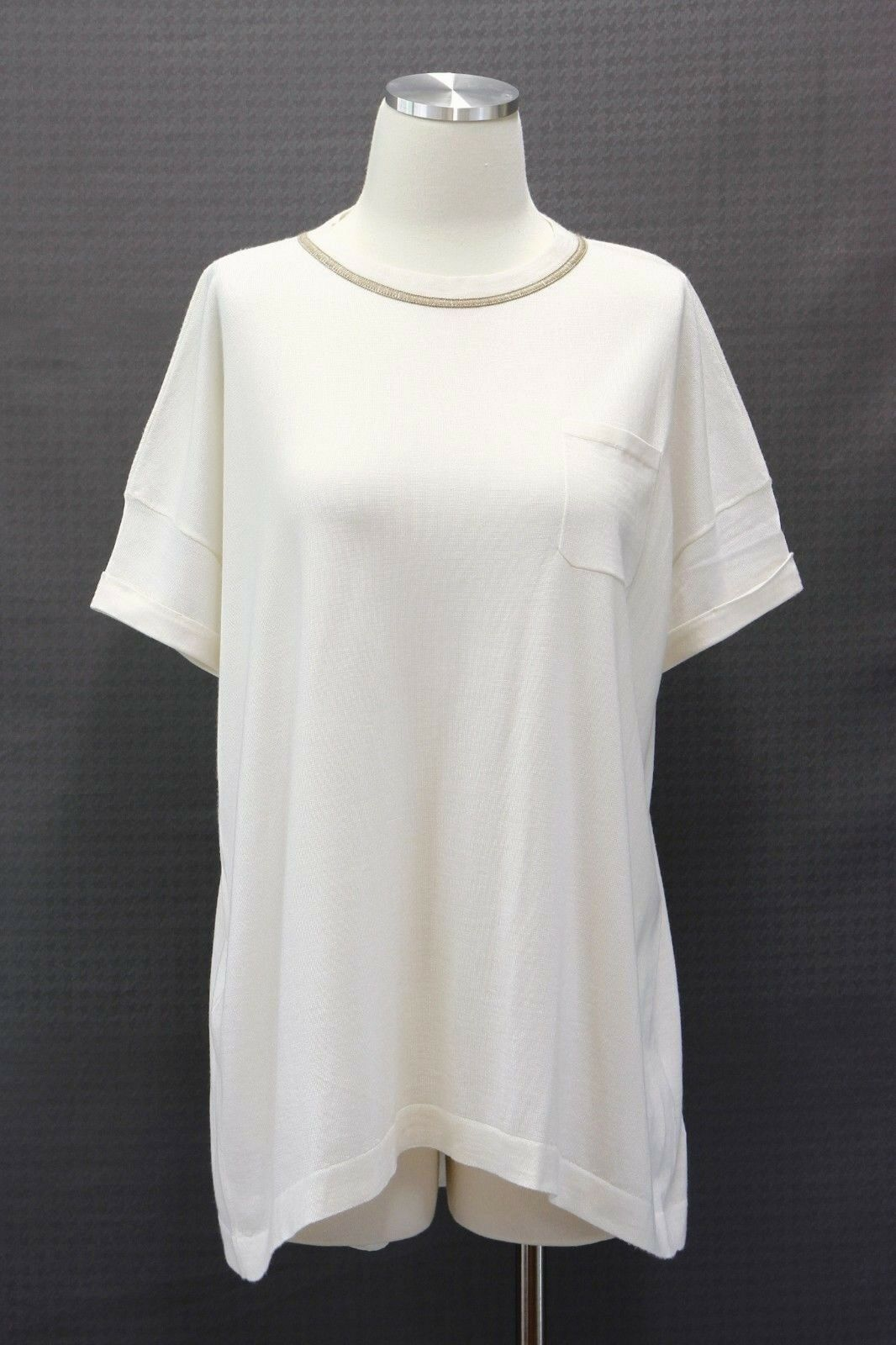 NWT 2525 Brunello Cucinelli Cashmere-Silk Monili Collar Beaded Knit Top SzM A186