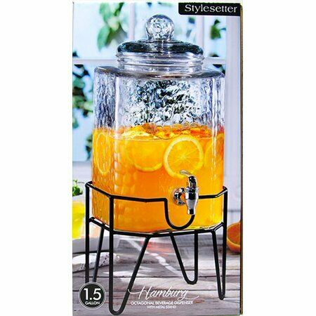 Beverage Dispenser Glass Jar Metal Stand 1.5 Gal Cold Drink Juice Tea Water New