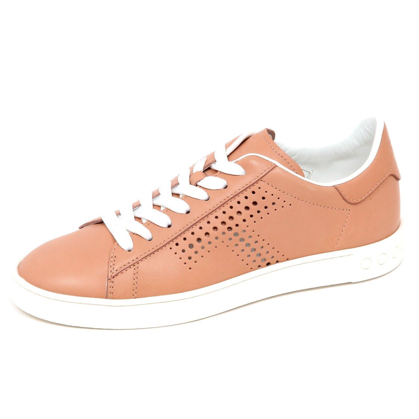 E2914 sneaker donna TOD'S CASSETTA scarpe cipria scuro forata shoe woman