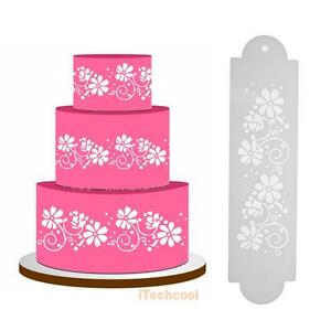 Image Is Loading 2pcs Flower Cake Stencil Template Pastry Fondant Decorating