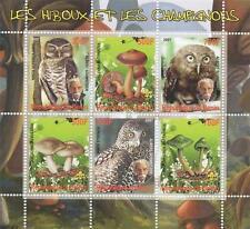 OWL MUSHROOM ALBERT SCHWEITZER REPUBLIQUE DU BENIN 2007 MNH STAMP SHEETLET