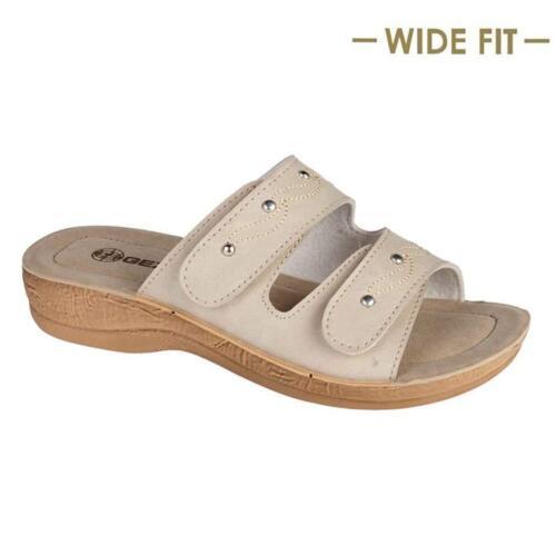 Ladies Womens Wide Fit Low Wedge Comfort Walking Beach Slip On Sandals Shoes Siz