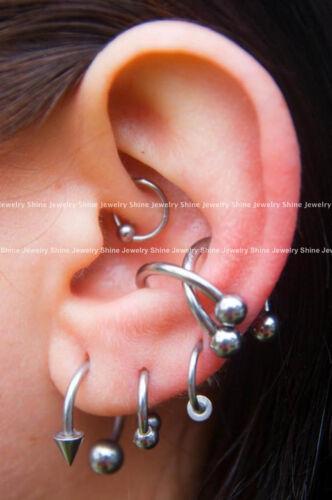 Titanium Captive Ball Bead Hoop Cartilage Septum Ear Nose Ring Earrings Piercing