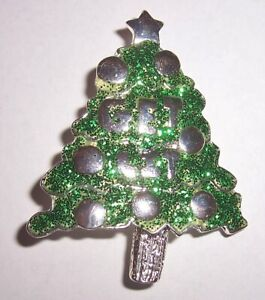 Color Plata Cristal De Árbol De Navidad Broche Pin Fashion Jewellery Navidad