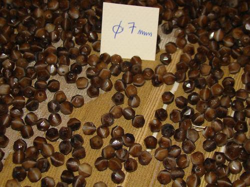 lot de 300 perle ancienne en pâte de verre 7 mm  marron marbré à facettes