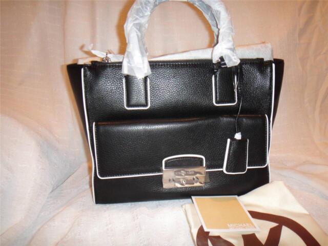 f97bc87a5006 Michael Kors Audrey Large Black Leather Satchel Bag 30 S 4 SRYS 3 L ...