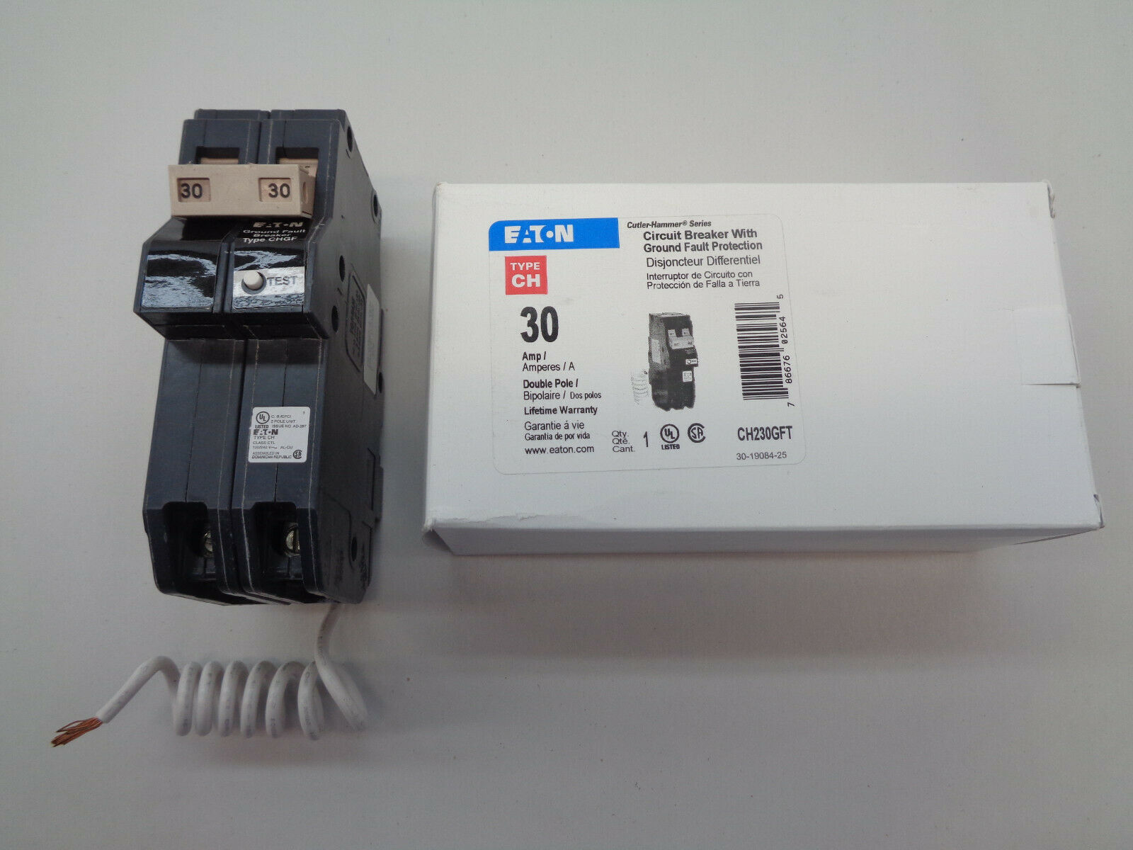 EATON CUTLER HAMMER CH230GFT 2 Pole 30AMP Type CH Ground Fault Circuit Breaker