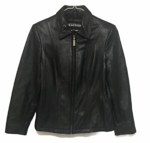 Kenneth Cole Reaction Full Zip Soft Leather Jacket Sz Womens S Black