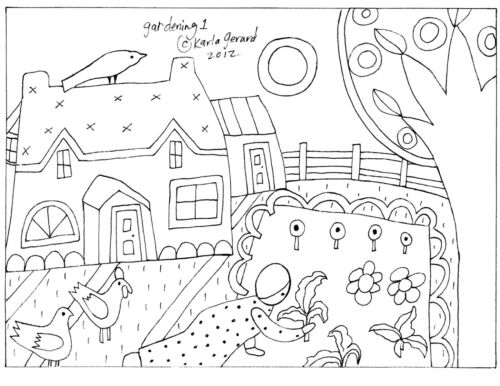RUG HOOK CRAFT PAPER PATTERN Gardening1 FOLK ART PRIMITIVE Karla Gerard