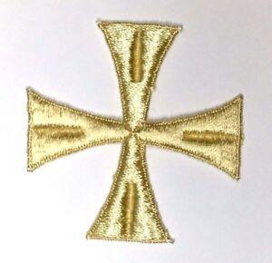 Vintage-Cruz-Bordado-para-Coser-LARGO-Oro-3-034-Maltes-Emblema-Parche-2PC