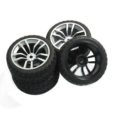 4pcs 12mm Hub Wheel Rim Soft Rubber Tires Tyres for 1//10 RC On Road Racing Car