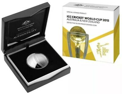 2015 ICC CRICKET WORLD CUP $5 SILVER PROOF DOMED COIN FREE SIGNED CRICKET BALL