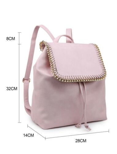 Ladies Convertible Backpack Chain Trim Rucksack Women Unisex Shoulder Grab Bags