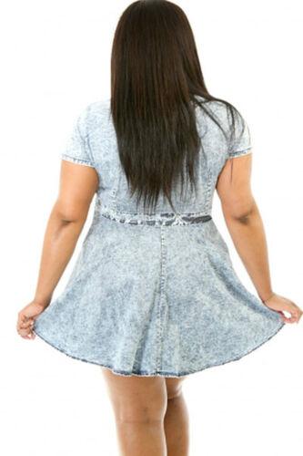 Abito Skater jeans Taglie forti Grandi Curvy Formosa Plus Size Denim Dress XXL