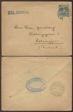 PORTUGAL MADEIRA to FINLAND 1910 STATIONERY ENVELOPE BLANDY BROTHERS FUNCHAL