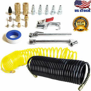 AIR-COMPRESSOR-ACCESSORY-KIT-Tool-25-Ft-Recoil-Hose-Gun-Nozzles-Set-20-PIECES