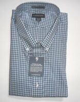 Lands' End, Nip, Men's Blue Plaid Oxford Shirt:18 1/2 X 36, No Iron, Traditional