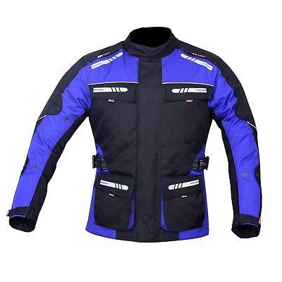 NORMAN Mens Motorcycle Motorbike Jacket Waterproof Textile CE Armoured Reflectors Black//Red