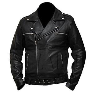 Faux Biker Jacket The Walking Dead Negan Jeffrey Dean Morgan Genuine Leather
