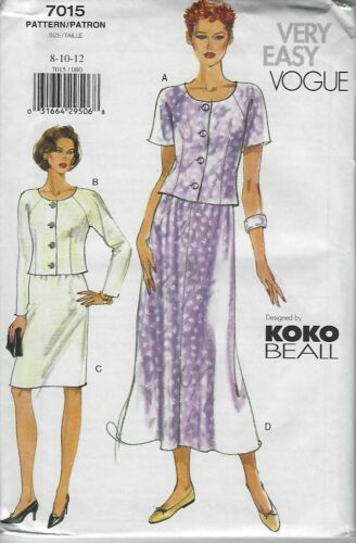 Very Easy Vogue Vogue Sewing Pattern 7015 Skirts /& Top