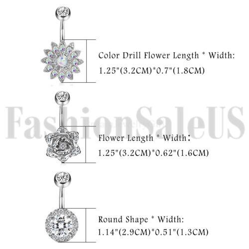3pcs 14G Stainless Steel Belly Button Rings Barbell CZ Navel Rings Bar for Women