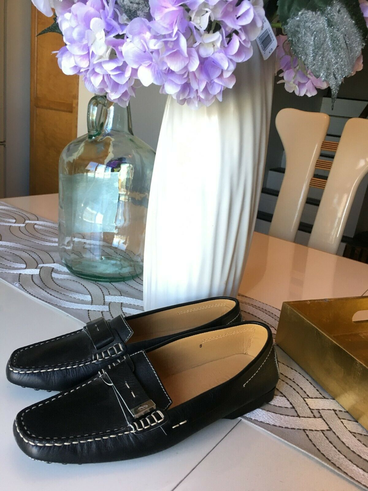 Tods Driving Moccasin Black Leather Women's size 8 NEW