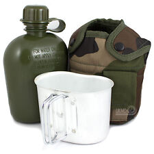 Army Camping Hiking Military Water Bottle, Mug & Pouch Set Canteen CCE Woodland