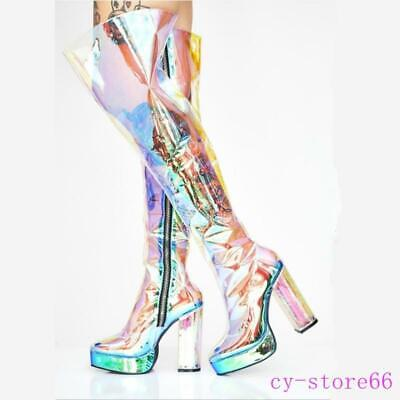 LADIES WOMENS' OVER THE KNEE BOOTS PLATFORM BLOCK HIGH HEEL ZIPPED SHOES SIZE