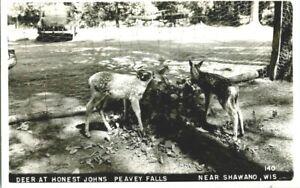 RPPC-DEER-AT-HONEST-JOHNS-PEAVEY-FALLS-SHAWANO-WIS