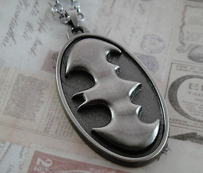 Large BATMAN Necklace Chain Pendant Dark Knight BAT Logo Superhero COMICS