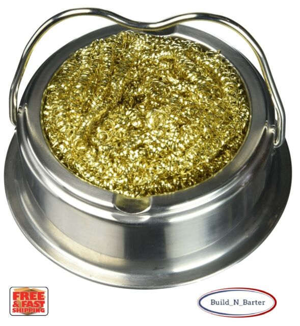 Soldering Solder Iron Tip Cleaner Brass Cleaning Wire Sponge Ball w//Stand holder